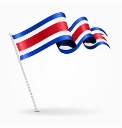 Costa rican pin wavy flag vector