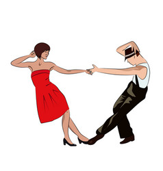 Couple man and woman dancing vintage dance pop vector