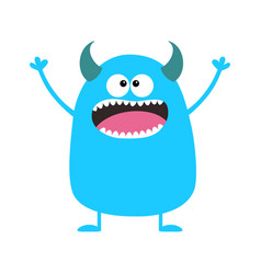 Cute blue monster icon happy halloween cartoon vector