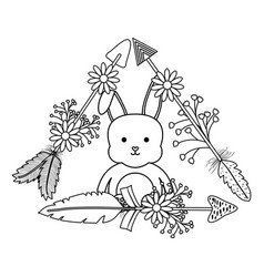 Cute little rabbit with flowers and arrows vector