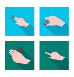 design of touchscreen and hand icon set of vector image