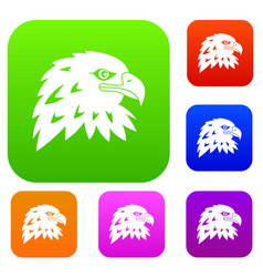 eagle set color collection vector image