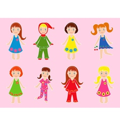 Eight small girls in various garments vector image
