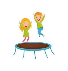 Energetic children jumping on trampoline joyful vector