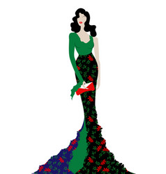 fashion model in floral beauty dress sexy woman vector image