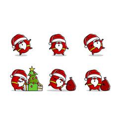 Flat santa logo in line art style vector