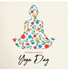 Floral yoga day card girl doing meditation vector