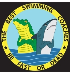 Funny of shark and crocodile vector image