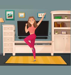 girl dance home cartoon vector image
