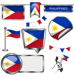 Glossy icons with Philippine flag vector image