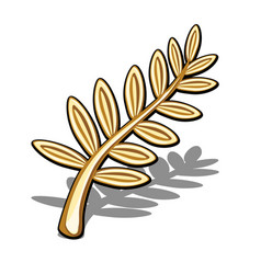 Golden olive branch isolated on white background vector