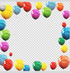 Group of colour glossy helium balloons isolated on vector