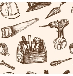 Hand drawn seamless pattern Construction tools vector
