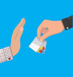 Hand drug dealer gives bag with narcotics vector
