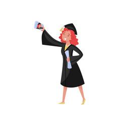 happy female graduate taking selfie photo smiling vector image