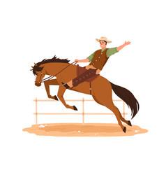 Happy western american cowboy in hat riding horse vector