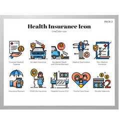Health insurance icons linecolor pack vector