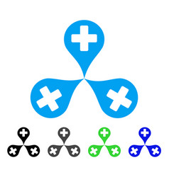 Hospital map markers flat icon vector