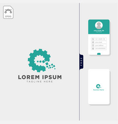 initial e gear logo template free business card vector image