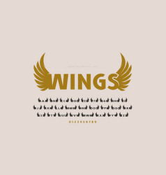 Initial sans serif font with wings silhouettes vector