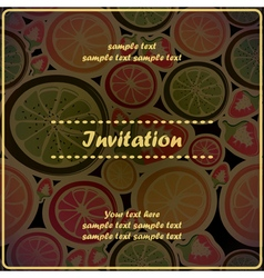 invitation card with different fruits vector image