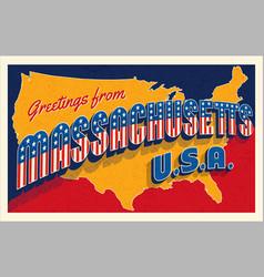 July 4th massachusetts usa retro travel postcard vector