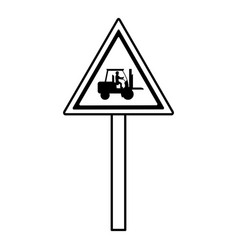 Line triangle caution emblem and laborer with vector