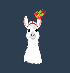 llama in christmas hat vector image