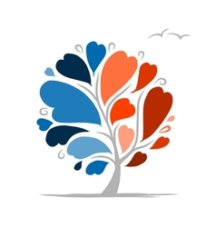 Love tree with blue and red parts for your design vector image vector image