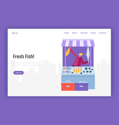 male seller character selling fish and seafood vector image