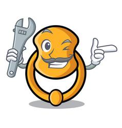 Mechanic vintage door knocker on mascot cartoon vector