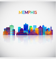 memphis skyline silhouette in colorful geometric vector image