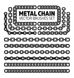 Metal chain links pattern brushes set vector