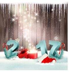 New Year background with a 2017 and magic box vector