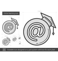 Online learning line icon vector