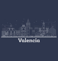 outline valencia spain city skyline with white vector image