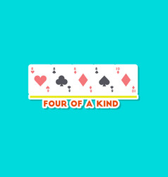 Paper sticker on stylish background poker four of vector