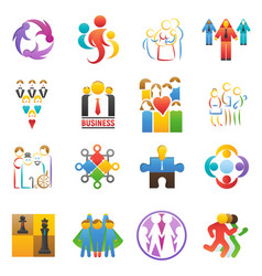 People team icons abstract group set vector