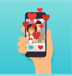 phone with social media app love button social vector image