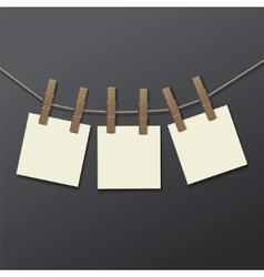 Photo frame with clothespin isolated Realistic vector