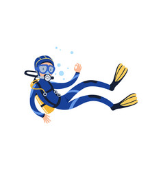 Professional diver swimming underwater and showing vector