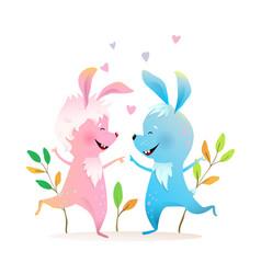Rabbits or bunnies jumping dancing kids cartoon vector