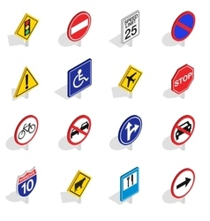 Road Sign icons set isometric 3d style vector