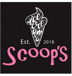 Scoops ice cream est2018 black background vector