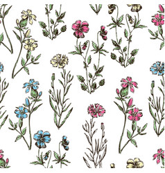 Seamless background of the wildflowers vector