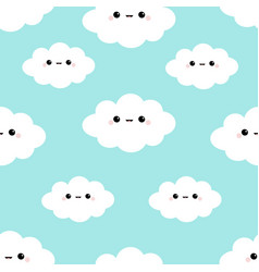 seamless pattern cloud in sky cute cartoon vector image