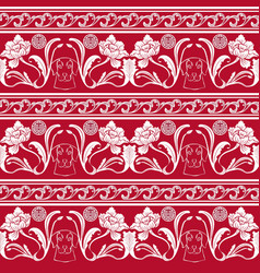 seamless pattern with flowers and a dogs head in vector image