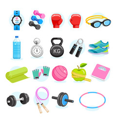 set exercises equipment icons color vector image