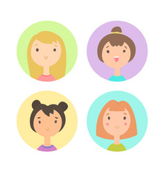set of four girls faces vector image