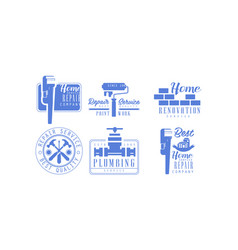 Set of monochrome logos for plumbing and vector